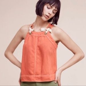 Anthropologie Maeve Overall Bow Tie Top Linen 8
